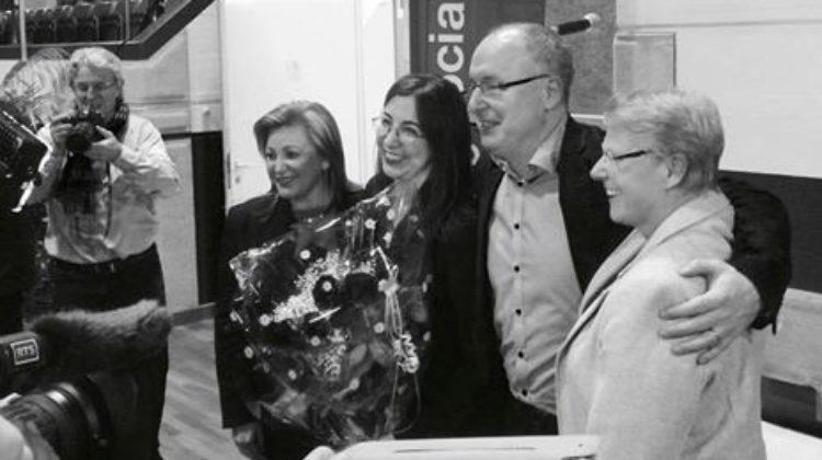 Nuria Gorrite, Cesla Amarelle, Pierre-Yves Maillard et Béatrice Métraux posent devant es photographes durant le congrès du Parti socialiste du 14 janvier 2017